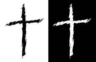 Gammal robust orolig kristen kors i både svart och vitt isolerad isolerad vektor illustration