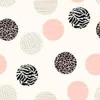 Abstrakt geometriskt sömlöst mönster med djurtryck och cirklar.