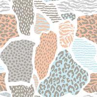Abstraktes nahtloses Muster mit Tierdruck. Trendy handgezeichnete Texturen.