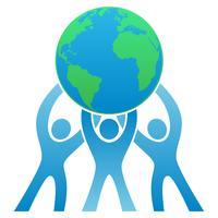 Teamwork-Erde Logo Vector Illustration