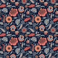 Folk blommigt sömlöst mönster. Modern abstrakt design