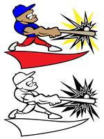 Baseball-Spieler, der Schläger Logo Vector Illustration schwingt
