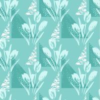 Abstrakt blommigt sömlöst mönster med tulpaner och geometriska element.