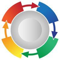 4 Steg Processflöde Cirkulationspilar Info-grafisk Vector