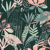 Abstraktes nahtloses mit Blumenmuster mit modischen Hand gezeichneten Beschaffenheiten. vektor