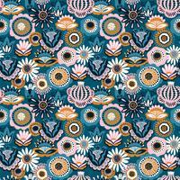 Folk blommigt sömlöst mönster. Modern abstrakt design vektor