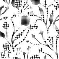 Abstrakte Blumen mit Hahnenzahn-Plaidmuster.