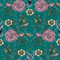 Viktorianischer Garten Nahtlose Blümchenmuster Vektor-Illustration vektor