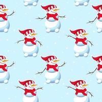 Weihnachtskarte Schneemann mit Lächeln. nahtloses Weihnachtsmuster. vektor