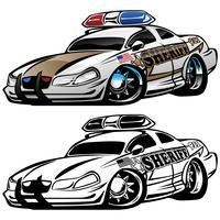 Sheriff-Muskel-Auto-Karikatur-Vektor-Illustration