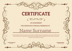 Goldenes klassisches Zertifikat der Weinlese der Leistungsschablone vektor