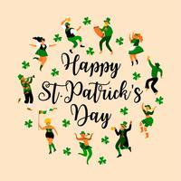 St. Patrick's Day. Vektorabbildung mit lustigen Leuten