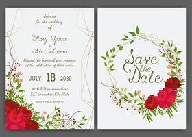 Blumenhand gezeichneter Rahmen für eine Hochzeitseinladung