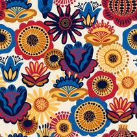 Folk blommigt sömlöst mönster. vektor
