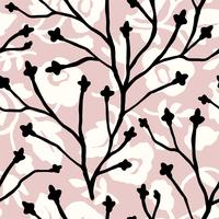 Abstrakt blommigt sömlöst mönster med trendiga handdragen texturer.