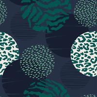 Abstraktes geometrisches nahtloses Muster mit Tierdruck und Kreisen.