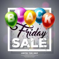 Black Friday-Verkaufsillustration mit glänzenden Ballonen