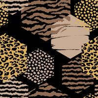 Abstraktes geometrisches nahtloses Muster mit Tierdruck und Hexagonen.