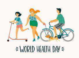 Världshälsodagen. Hälsosam livsstil. Sportfamilj. vektor