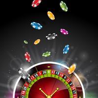 Färgglada pokerchips som faller på roulettehjulet