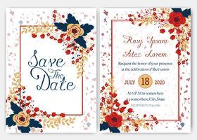 Eleganta bröllopskort består av olika slags blommor