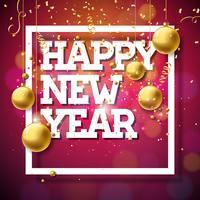 Frohes neues Jahr Illustration mit dekorativen Kugeln und Konfetti