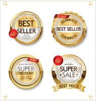 Goldene Premium-Abzeichen und Labelsammlung vektor