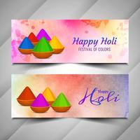 Abstrakt Happy Holi färgstarka banderoller uppsättning vektor