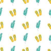 Sommer süßes Muster. Sommer Damen Flip-Flops und Palmblätter vektor