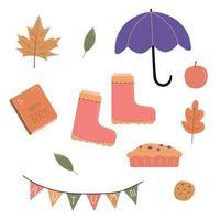 Packung Herbstobjekte im handgezeichneten Stil vektor