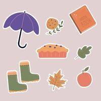 Vektor handgezeichnete Hygge-Aufkleber von Herbstelementen