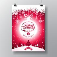 Frohe Weihnachten Illustration mit Typografie vektor