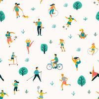 Världshälsodagen. Vektor sömlöst mönster med människor som leder en aktiv hälsosam livsstil.