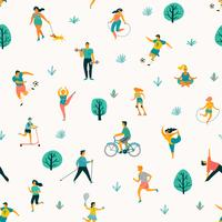 Weltgesundheitstag. Vector nahtloses Muster mit den Leuten, die einen aktiven gesunden Lebensstil führen.