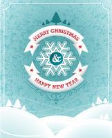 Vektor jul illustration med typografisk design och band på landskaps bakgrund.