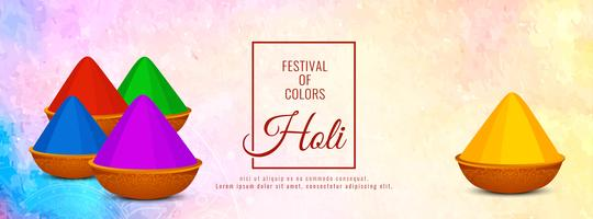 Vacker Glad Holi firande banderollsmall vektor
