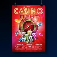 """""""Casino night"""" flygblad med roulettehjul och neonljusbokstäver vektor"""
