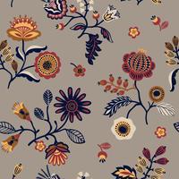 Folk blommigt sömlöst mönster. Modern abstrakt design.