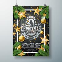 Julparty reklamblad med semester typografi vektor