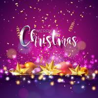 Weihnachten und Neujahr Illustration mit Typografie vektor