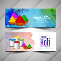 Abstrakte glückliche Holi Festivalfahnen eingestellt vektor