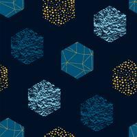 Abstraktes geometrisches nahtloses Wiederholungsmuster mit Hexagonen und Funkelnbeschaffenheit. Trendy handgezeichnete Texturen.
