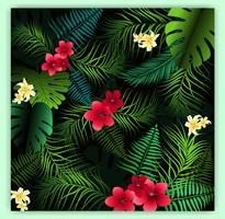 Tropisk blommig sömlös vektor mönster bakgrund