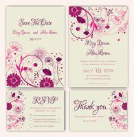 Vektorsatz Einladungskarten mit Blumenelementen, die Sammlung heiraten vektor