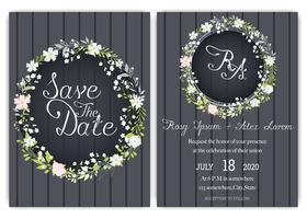 Elegante Hochzeitskarten bestehen aus verschiedenen Blumenarten
