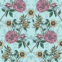 Viktoriansk trädgård. Blommigt sömlöst mönster. Vektor illustration.