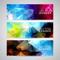 Vektor geometriska trianglar banner bakgrunds set. Abstrakt polygonal design.