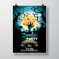 Vektor-Halloween-Zombie-Party-Flyer-Design mit typografischen Elementen auf blauem Hintergrund.