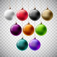 Färgglada Vector Christmas Ball Set på en genomskinlig bakgrund