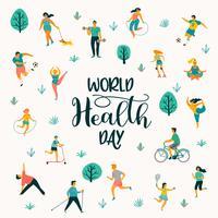 Weltgesundheitstag. Vector Illustration von den Leuten, die einen aktiven gesunden Lebensstil führen.